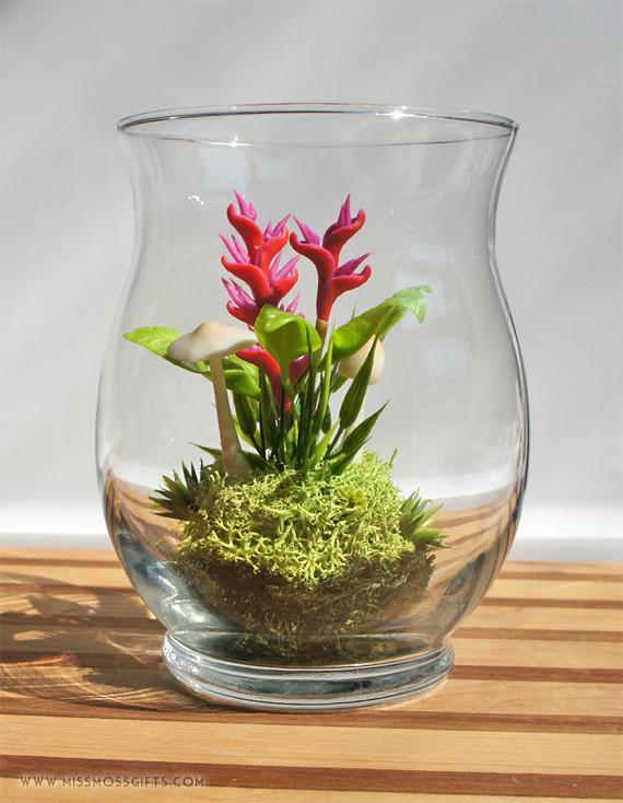 Miniature Exotic Heliconia Terrarium in Vintage Glass