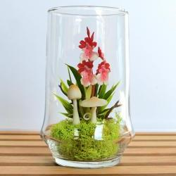 Tiny Red Dancing Lady Orchid Terrarium in Repurposed Vase
